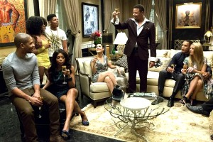 "TV STILL -- DO NOT PURGE -- EMPIRE: Lucious (Terrence Howard) toasts his family in the ""Devil Quotes Scripture"" episode airing Wednesday, Jan. 21 (9:00-10:00 PM ET/PT) on FOX. Pictured L-R: Jussie Smollett, Serayah McNeill, Taraji P. Henson, Bryshere Gray, Grace Gealey, Terrence Howard, Trai Byers and Kaitlin Doubleday.  ¨©2014 Fox Broadcasting Co. CR: Chuck Hodes/FOX"